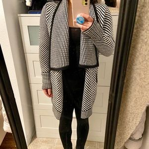 Dynamite Knit Cardigan Sweater black white striped